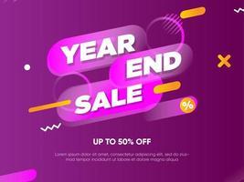 Banner de venda de fim de ano geométrico roxo vetor