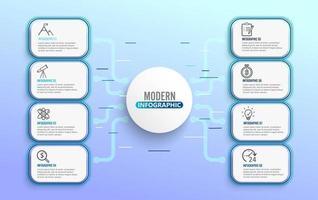 Modelo de infográfico de néon com círculos de etiqueta de papel 3D e 8 opções vetor