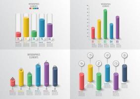 Conjunto de tabelas e gráficos. Conceito de negócio infográfico com 4, 5 opções vetor