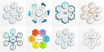 Definir modelo de infográfico com etiqueta de papel 3D, círculos integrados e 6 opções vetor