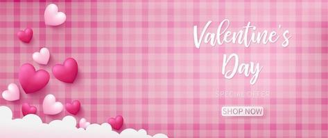 Fundo de dia dos namorados com padrão rosa vetor