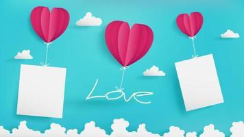 balões de dia dos namorados estão segurando a mensagem de amor vetor
