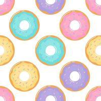 kawaii bonito rosquinhas Pastel sobremesas doces de verão sem costura padrão vetor