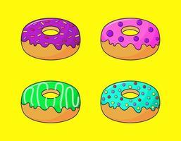 donuts de pastel kawaii bonito doce verão sobremesas desenhos animados com diferentes tipos vetor