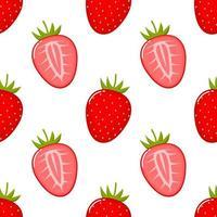 Padrão sem emenda de fruta morango vetor