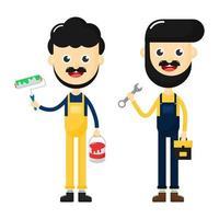 reparador feliz com conjunto de ferramentas vetor