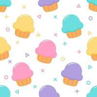 kawaii Pastel bonito Cupcake sobremesas doces de verão sem costura padrão vetor