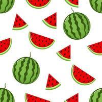 fatias de melancia vermelha sem costura padrão vetor