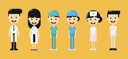 Conjunto de felizes médicos, enfermeiros e personagens da equipe médica vetor