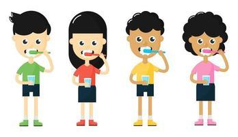 crianças escovando o conjunto de dentes vetor