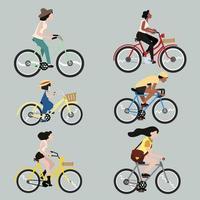 conjunto de pessoas andando de bicicleta vetor