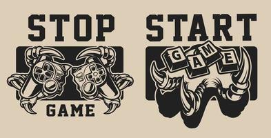 Conjunto de ilustrações sobre um tema de jogo com uma garra de joystick e dinossauro