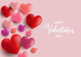 Fundo de corações do dia dos namorados vetor