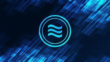 Símbolo de criptomoeda Libra em fundo de tecnologia de rede.