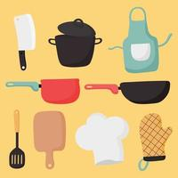 Elementos de cozinha e ícones de cozinha em fundo amarelo vetor