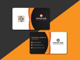 Design de cartão de identificação curvo laranja e preto ou cartão de nome vetor