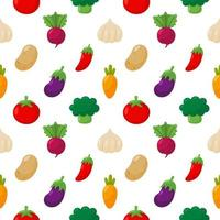 Conjunto de ícones de legumes sem costura padrão vetor
