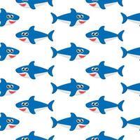 Padrão sem emenda de tubarão isolado no fundo branco vetor