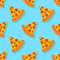 Pizza sem costura padrão em fundo azul vetor