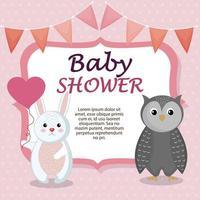 cartão de chuveiro de bebê com coelho fofo e coruja vetor
