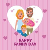 Feliz dia da família cartão vetor