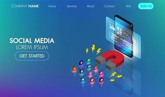Banner de web isométrica de marketing de mídia social vetor