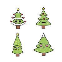 Conjunto de árvores de Natal fofo vetor