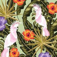 cacatuas com flores e folhas fundo de plantas vetor