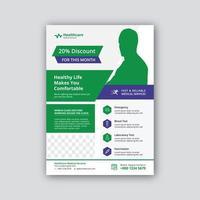 Modelo de folheto - medicina e saúde vetor