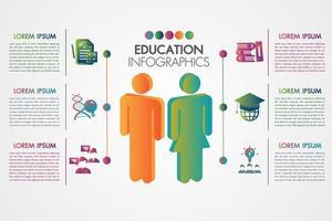 Modelo de infográfico de educação com ícones e conceito de aprendizagem 3d vetor