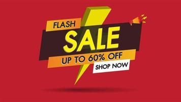Promoção de banner de venda flash com raio em fundo vermelho vetor