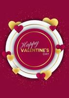 Feliz dia dos namorados fundo com molduras circulares e corações vetor