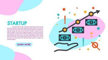Página inicial do lucro comercial e do crescimento financeiro. Inicialização e trabalho em equipe vetor
