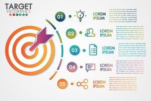 Infografia de destino 5 etapas ou opções de design de negócios vetor