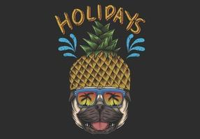 ilustração de férias de pug de abacaxi vetor