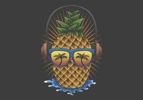 abacaxi usando óculos escuros e ilustração de fone de ouvido vetor