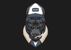 Cabeça de gorila usando ilustração de chapéu de camionista vetor