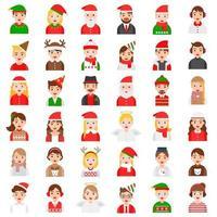 Conjunto de ícones de moda de inverno e avatar de Natal vetor