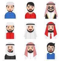Conjunto de homens muçulmanos vetor
