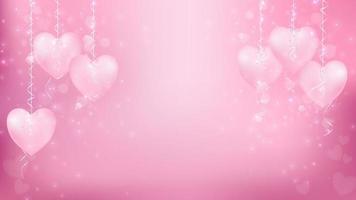 Corações pastel pendurado com bokeh rosa vetor