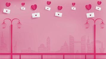 Balões de coração dia dos namorados com envelopes vetor