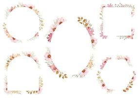 Conjunto de quadros florais em aquarela rosa isolado em um fundo branco. vetor