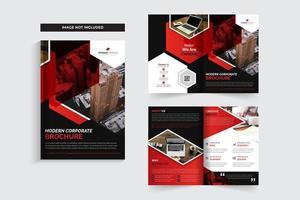 Modelo de Brochura - negócio corporativo vermelho com desenhos de ângulo vetor