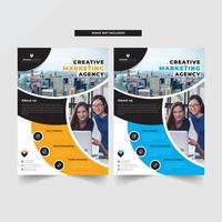 Modelo de panfleto de negócios com design moderno curvo vetor