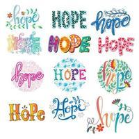 Conjunto de mão esperança letras caligrafia. vetor