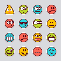 adesivos de vetor de emoji de pixel