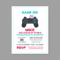 Modelo de convite de aniversário de jogo retrô