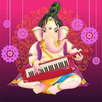 Keytar Ganesha com fundo floral vetor