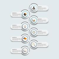 Modelo de infográfico com etiqueta de papel 3D, círculos integrados e 8 opções