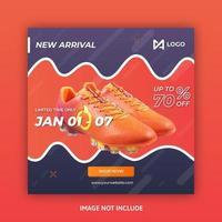 Mídia social postar modelo com design ondulado